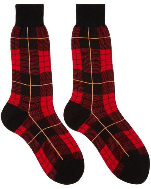 Alexander McQueen | Чёрный Red Plaid Socks