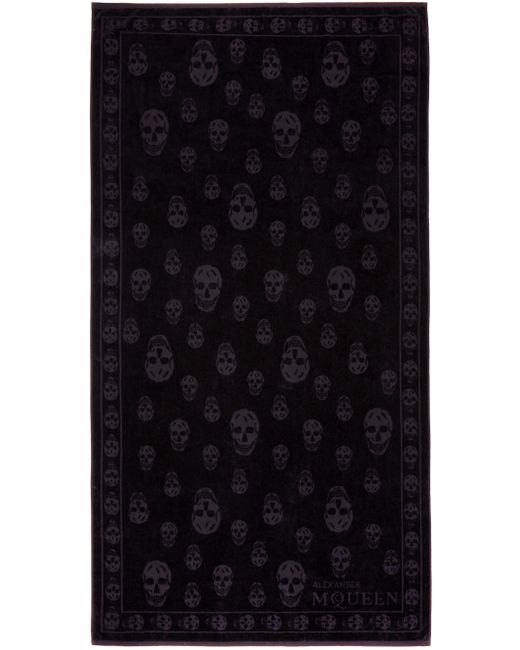 Alexander McQueen | Чёрный Black Tonal Skulls Towel