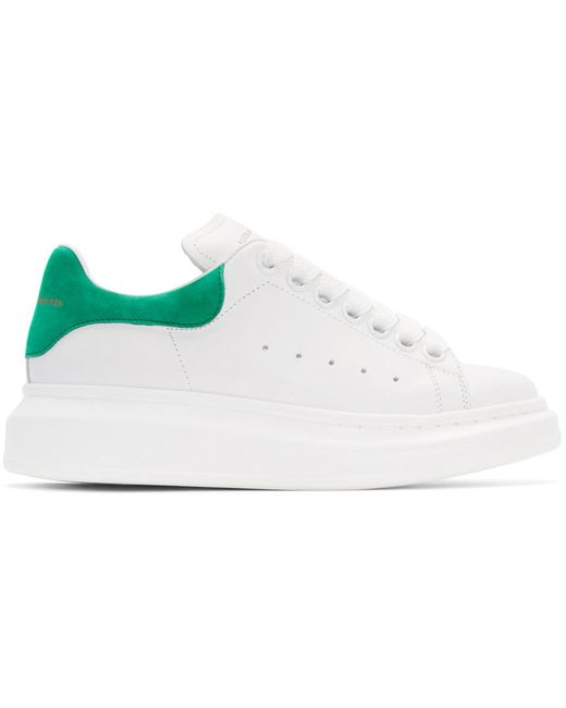 Alexander McQueen   Белый White And Green Leather Sneakers