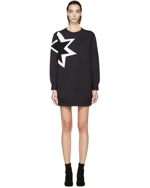 Neil Barrett | Чёрный Navy Structured Kaboom Sweatshirt Dress