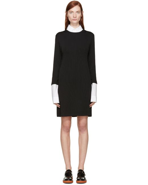 Raf Simons | Чёрный Black Ribbed Layered Dress