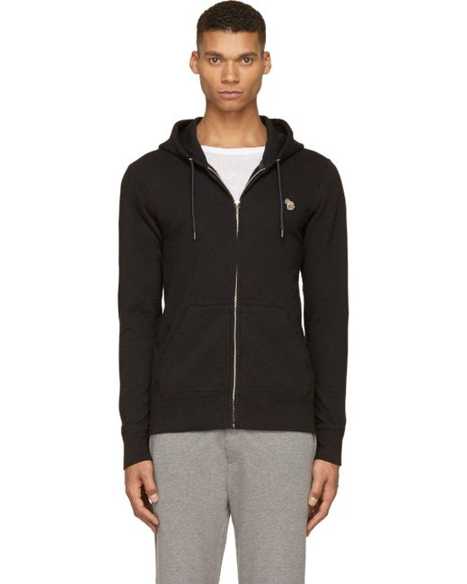Paul Smith | Чёрный Black Zip-Up Hooded Zebra Patch Sweatshirt
