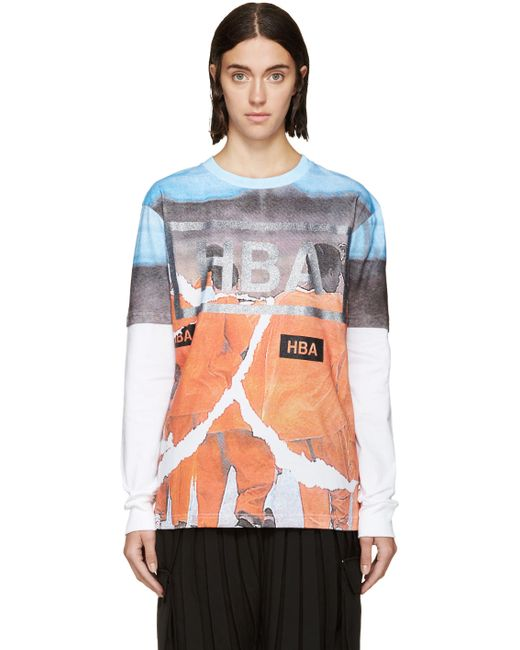 HOOD BY AIR   Белый And Orange Jumpsuit Logo T-Shirt