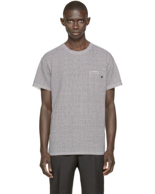 TOGA VIRILIS   Мужское Чёрный Black And White Check T-Shirt