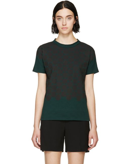 Marni | Зелёный Forest Green Spotted Bow T-Shirt