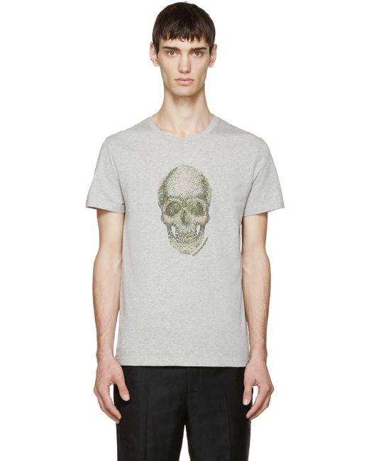 Alexander McQueen   Мужское Серый Grey Embroidered Skull T-Shirt