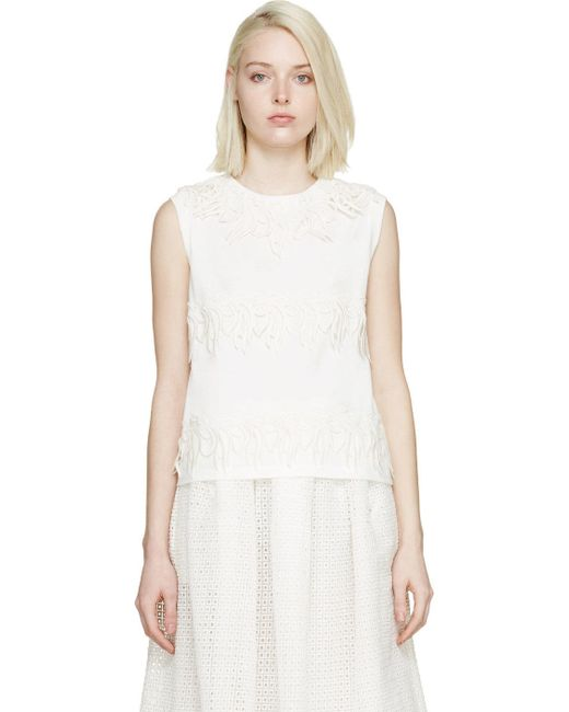 Giambattista Valli | Белый White Floral Embroidered Tank Top