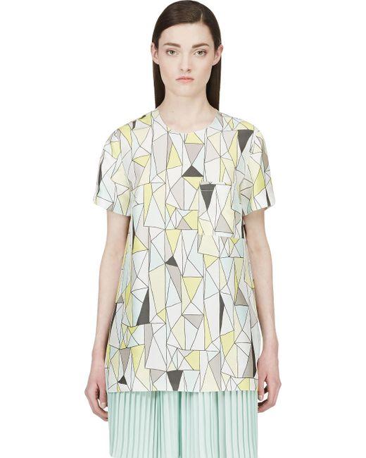 ROKSANDA   Print Grey And Yellow Silk Geometric Baynes T-Shirt