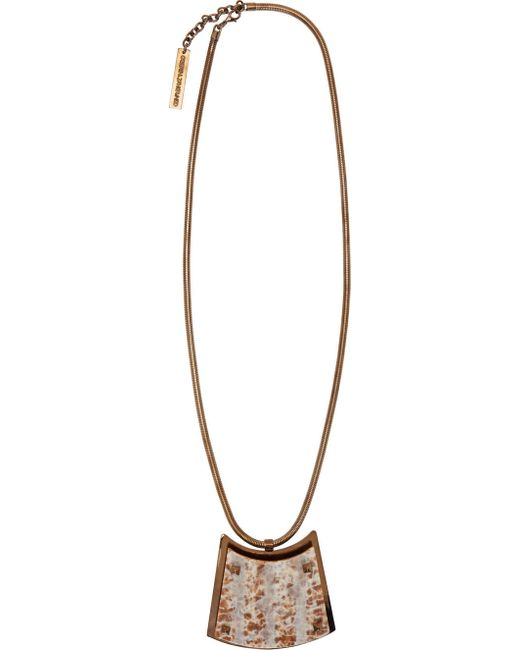 Caterina Zangrando | Brass & #47; Resin Pink Marbled Resin And Brass Necklace