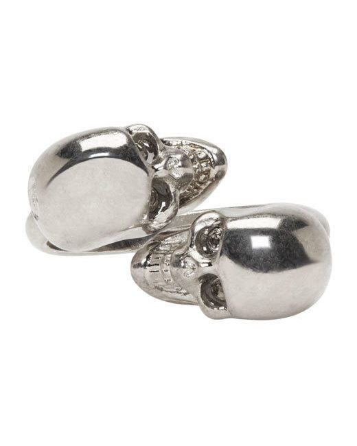 Alexander McQueen   Серебристый Silver Twin Skull Ring