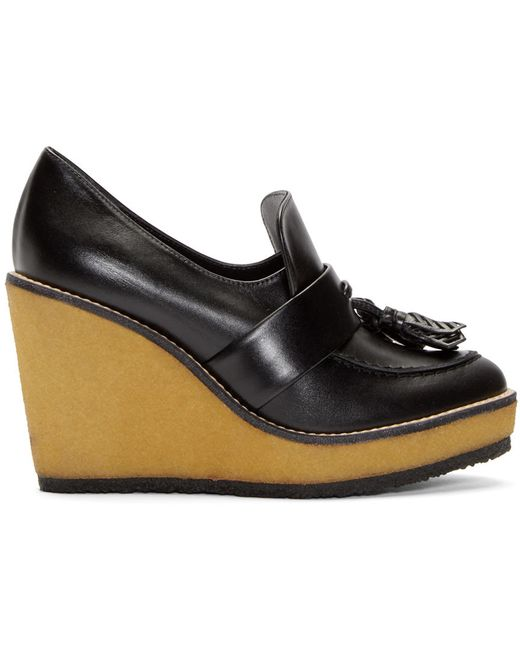 Robert Clergerie | Чёрный Leather Astrid Wedge Loafers