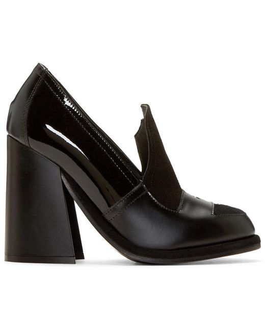 J.W. Anderson | Чёрный J.W.Anderson Black Leather Loafer Heels