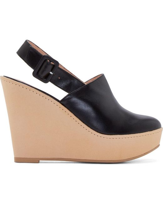 Robert Clergerie | Чёрный Leather French Wedge Mules