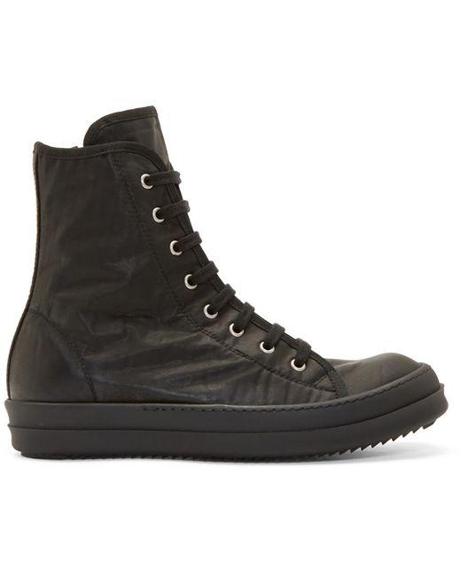 RICK OWENS DRKSHDW   Чёрный Black Coated Nylon High-Top Sneakers