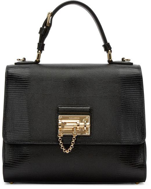 Dolce & Gabbana   Чёрный Dolce And Gabbana Black Iguana-Embossed Monica Bag