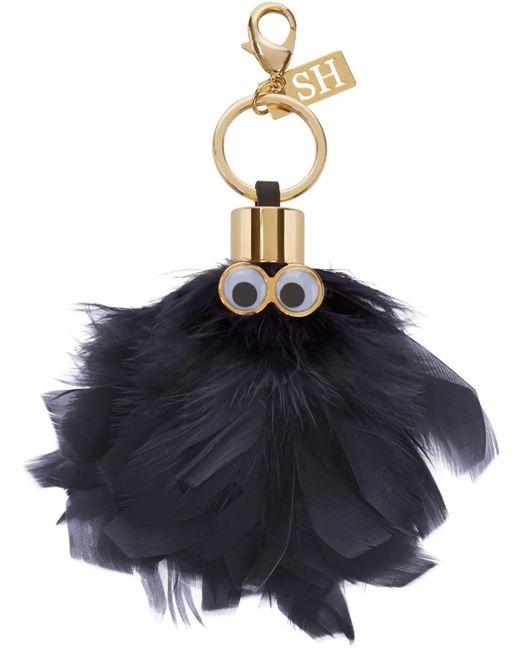Sophie Hulme | Charcoal Black Feather Sam Keyring
