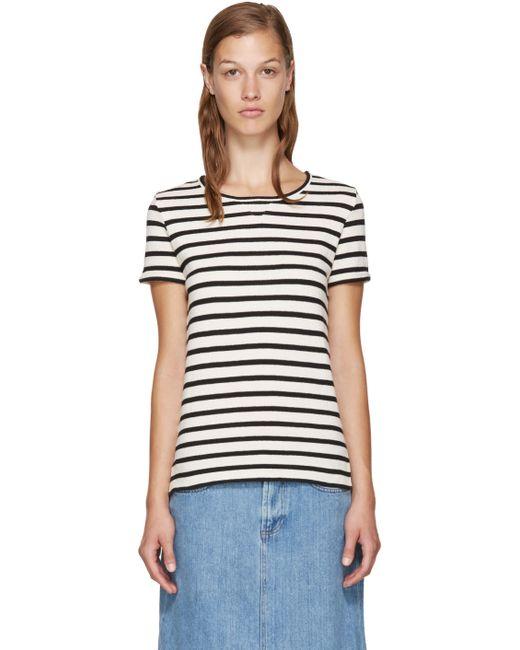 A.P.C. | Iak-Dark Navy Navy And White Lynn T-Shirt