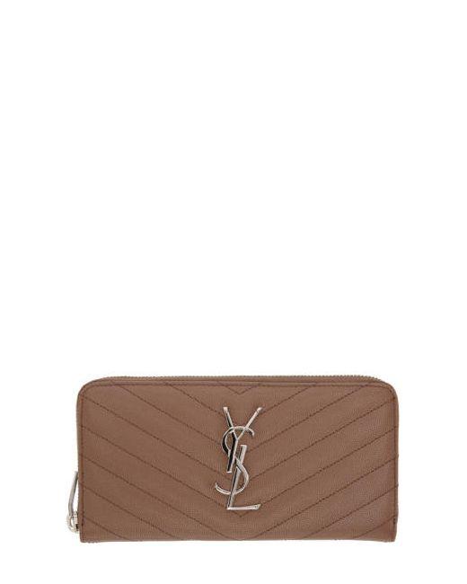 Saint Laurent   5758 Fard Brown Quilted Monogram Wallet