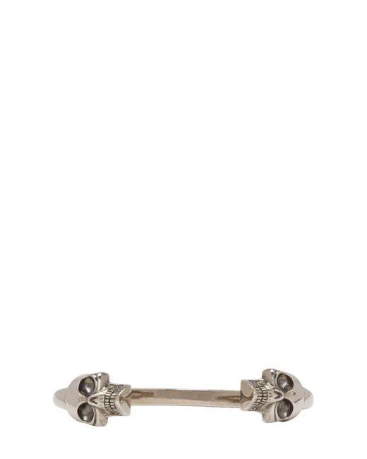 Alexander McQueen   Серебристый Silver Large Twin Skull Cuff