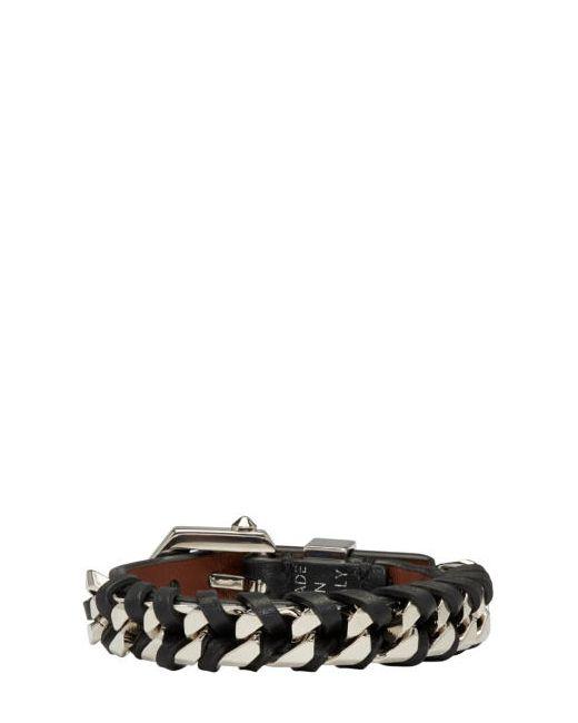Givenchy | Чёрный Black And Silver Leather Chain Bracelet