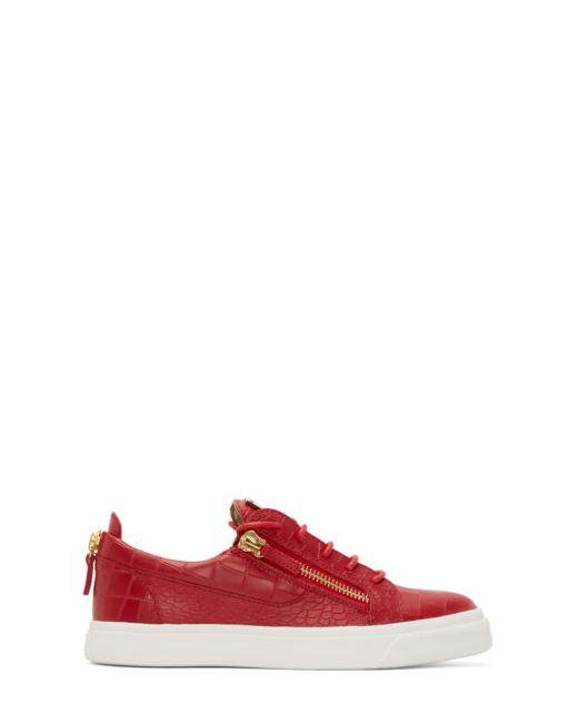 Giuseppe Zanotti Design | Красный Giuseppe Zanotti Croc-Embossed London Sneakers