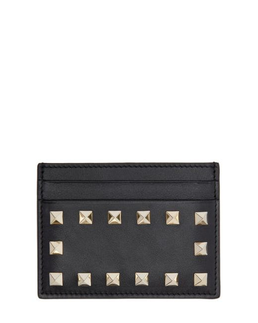 Valentino | Чёрный Black Leather Rockstud Card Holder
