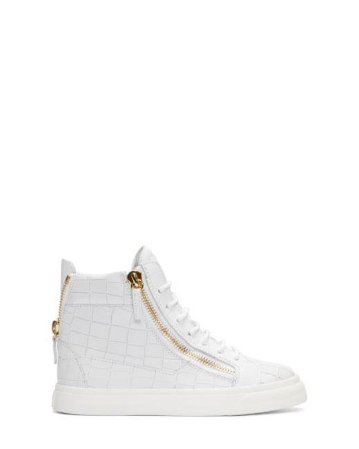 Giuseppe Zanotti Design | Bianco Giuseppe Zanotti White Croc-Embossed Ringo London Sneakers