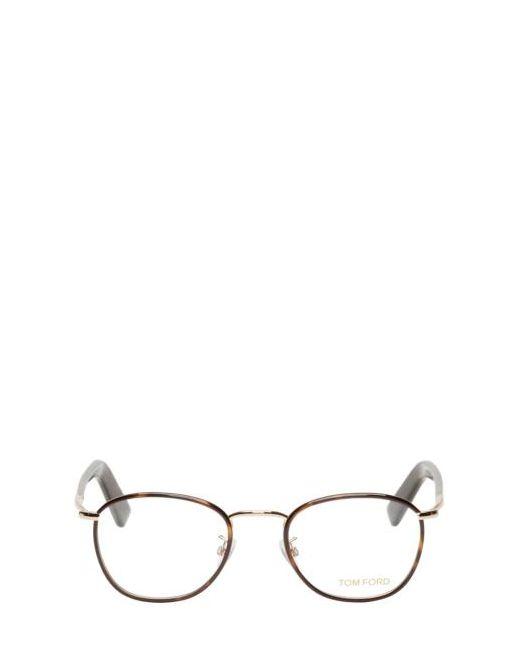 Tom Ford | Чёрный Brown Round Tortoiseshell Tf5333 Optical Glasses