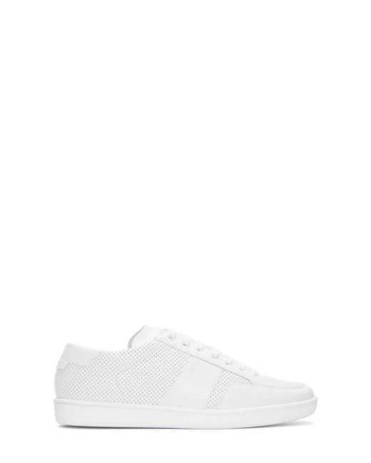 Saint Laurent | Белый White Perforated Leather Sneakers