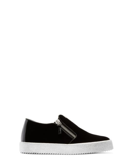 Giuseppe Zanotti Design | Чёрный Giuseppe Zanotti Velvet London Slip-On Sneakers