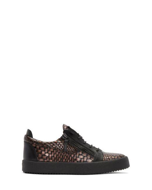 Giuseppe Zanotti Design | Чёрный Giuseppe Zanotti Croc-Embossed London Sneakers