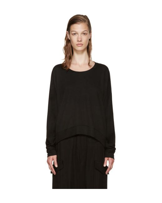 T By Alexander Wang | Чёрный Black French Terry Pullover