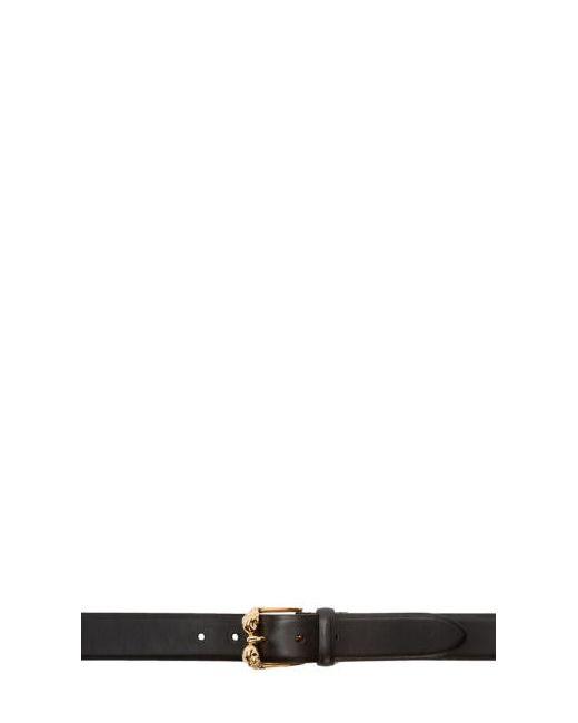 Alexander McQueen | Чёрный Black And Gold Leather Skull Belt