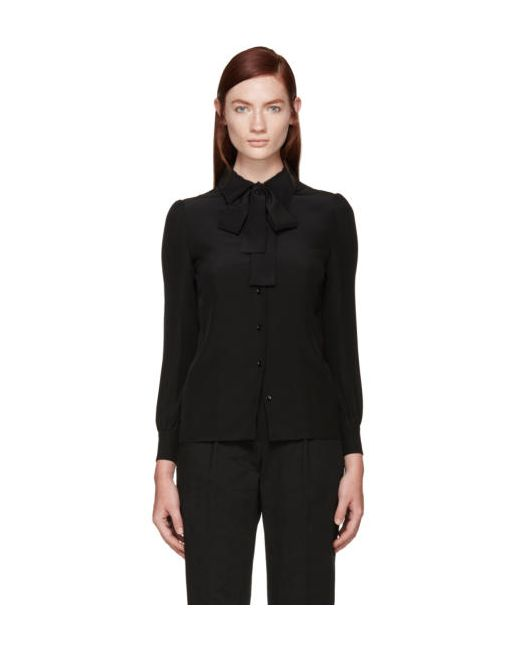 Saint Laurent | Чёрный Black Silk Bow Shirt