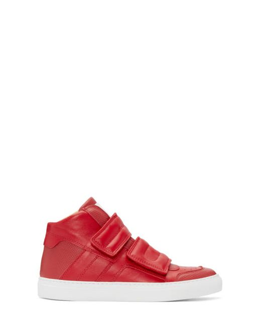 MM6 by Maison Margiela | Красный Mm6 Maison Margiela Red Leather High-Top Sneakers