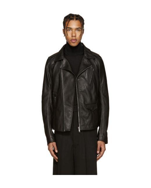 Rick Owens | Чёрный Black Leather Stooges Jacket
