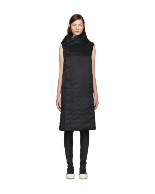 Rick Owens | Чёрный Black Hooded Sleeveless Coat