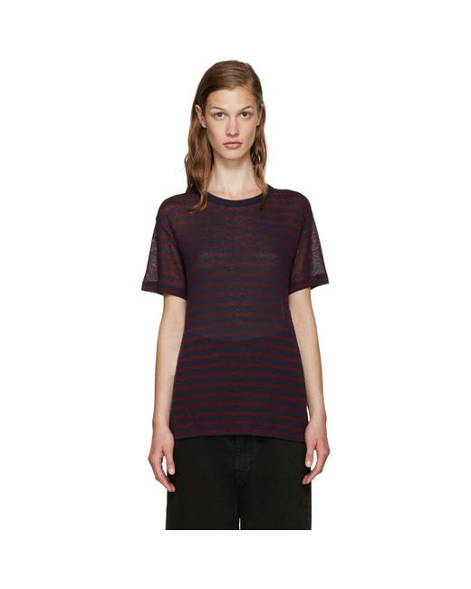 T By Alexander Wang | 921 Aubergine & #47; Navy Red And Navy Striped T-Shirt
