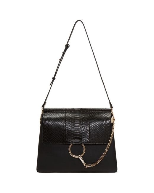 Chloe | Чёрный Chloé Black Python Medium Faye Bag