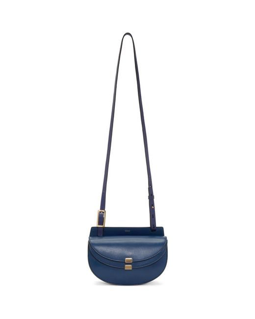 Chloe | Синий Chloé Navy Mini Georgia Saddle Bag