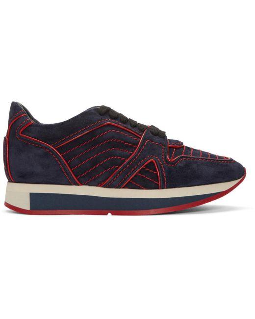 Burberry | Dark Indigo Navy Suede Field Sneakers