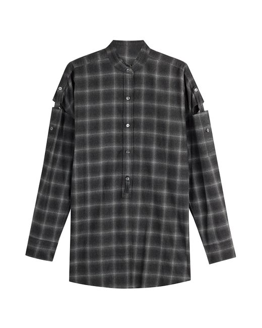 Helmut Lang   Женское Серый Wool Shirt With Cut-Out Detail On Sleeves