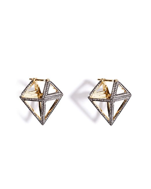 Noor Fares | None 18k Octahedron Earrings With Diamonds Gr. One