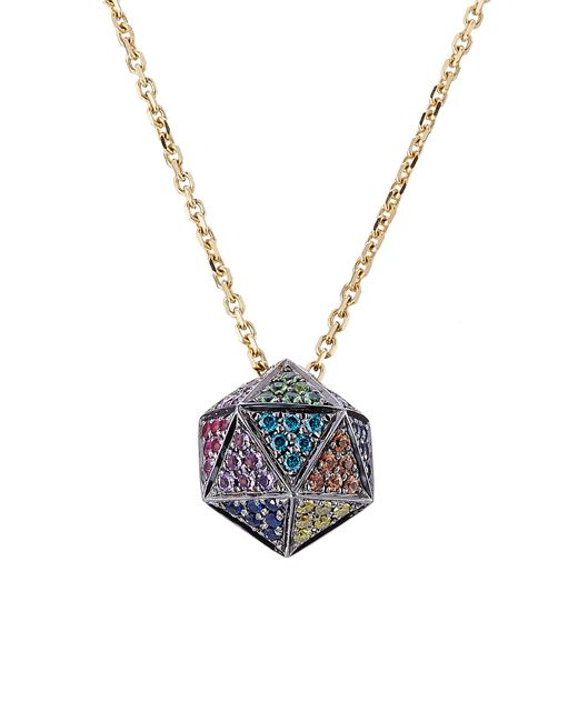 Noor Fares   Чёрный 18kt Icosagon Pendant Necklace With Diamonds Gr.