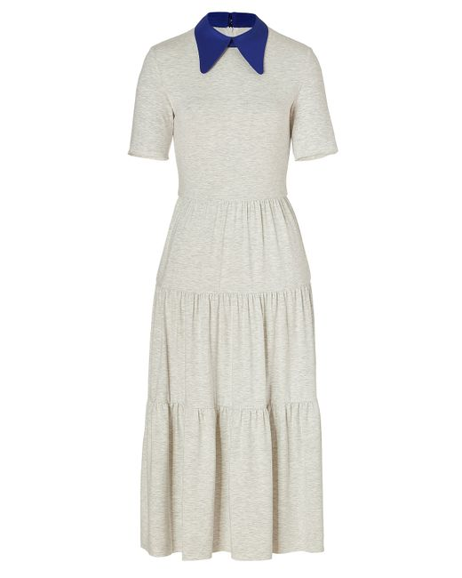 ROKSANDA | Женское Серый Heather Grey/Lapis Blue Midi Dayton Dress Gr.