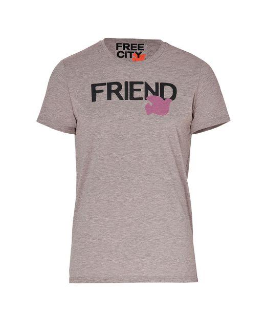 Free City | Мужское Серый Cereal Pink Friend Print T-Shirt Gr. L