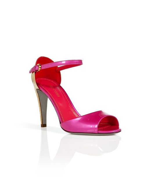 Sergio Rossi | Женское Pink/Gold Patent Leather Open Toe Sandals Gr.