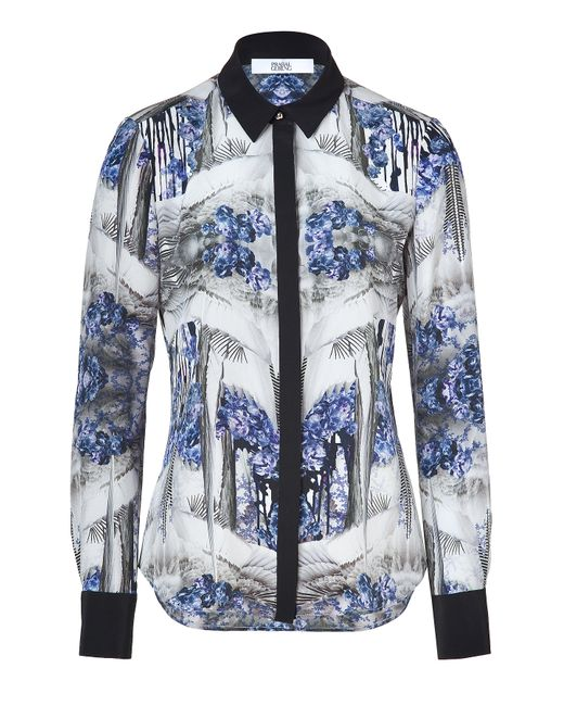 Prabal Gurung | Женское Blue-Multi Printed Silk Blouse With Contrast Placket