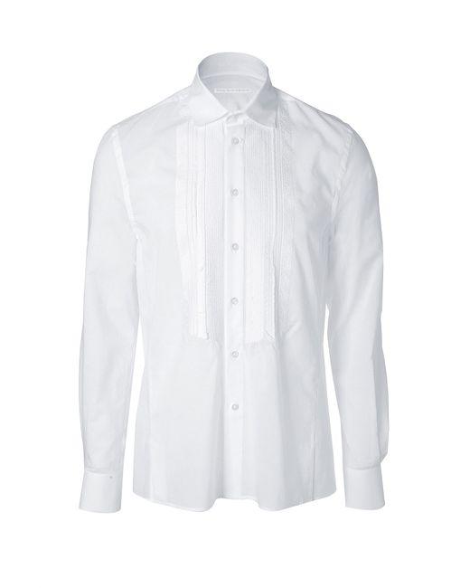 Ermanno Scervino | Мужское Белый White Cotton Beaded Tuxedo Shirt Gr. 48