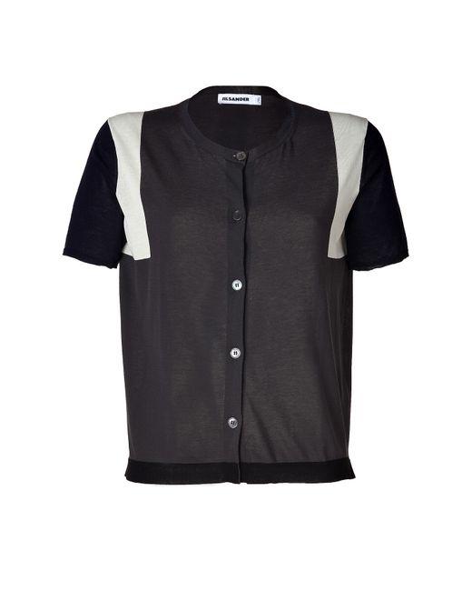 Jil Sander   Женское Синий Slate/Navy Colorblock Cotton Short Sleeve Cardigan Gr.